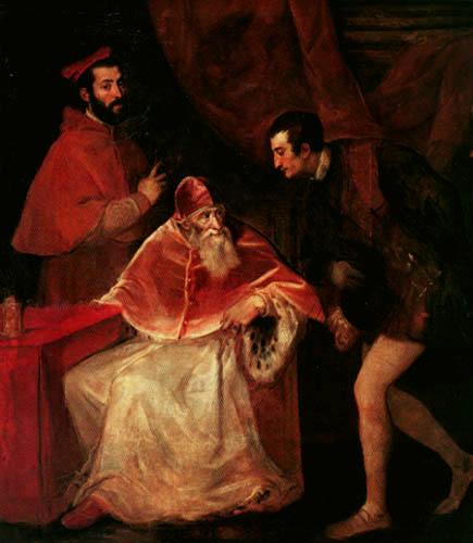 Tizian (Tiziano Vecellio) - Papst Paul III. mit seinen Nepoten