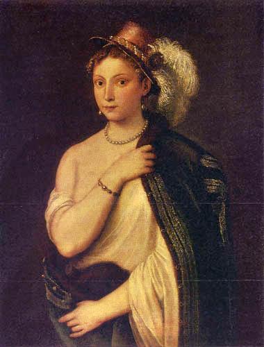 Tizian (Tiziano Vecellio) - Bildnis einer jungen Frau