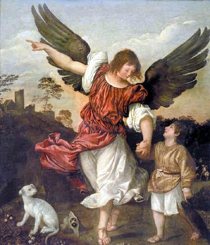 Tizian (Tiziano Vecellio) - Raphael und Tobias