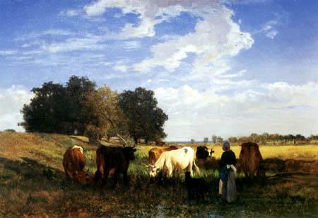 Constant Troyon - Weidelandschaft mit Kühen