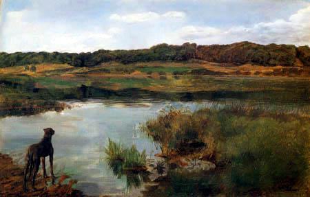 Wilhelm Trübner - A Mastiff at the lake of Wessling