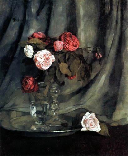Wilhelm Trübner - Red and white roses