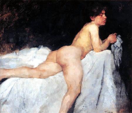 Wilhelm Trübner - A Reclining Nude