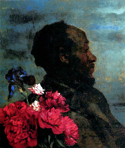 Wilhelm Trübner - Portrait of a black man with peonys