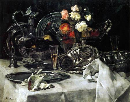 Wilhelm Trübner - Silverware and Roses