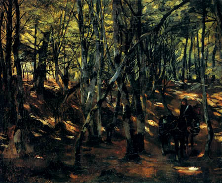 Wilhelm Trübner - In the forest with riders