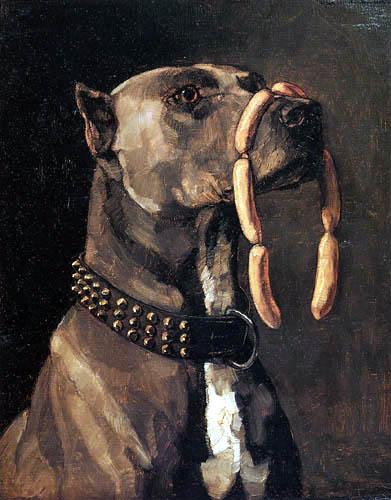 Wilhelm Trübner - A Mastiff with sausages