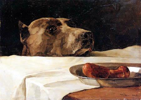 Wilhelm Trübner - A Mastiff with sausage dish