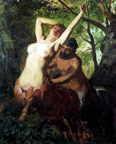 Wilhelm Trübner - Centaurs in the Forest