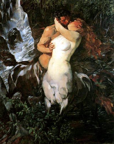 Wilhelm Trübner - Centaurs at the Waterfall