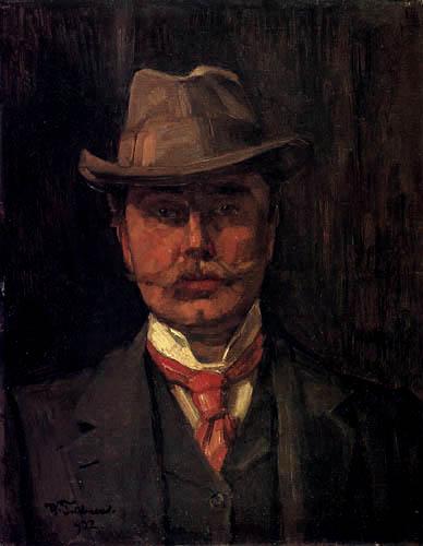 Wilhelm Trübner - Selfportrait with hat