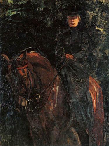 Wilhelm Trübner - Ida Goerz zu Pferde