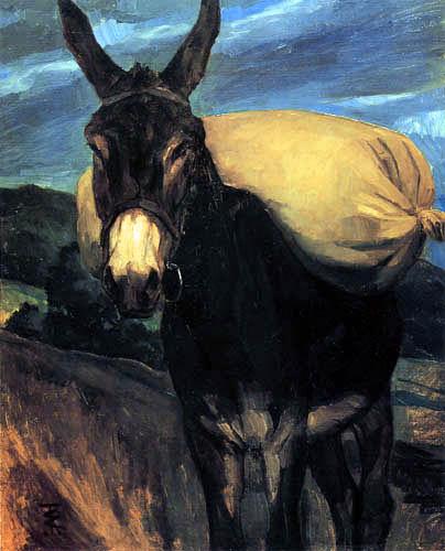 Wilhelm Trübner - Donkey with flour sack