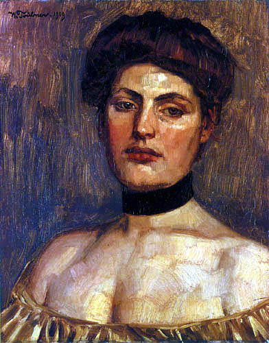 Wilhelm Trübner - Lady with black collar