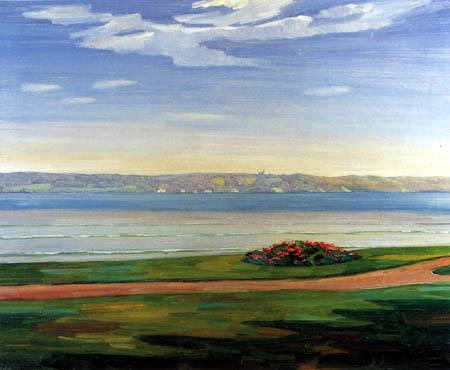 Wilhelm Trübner - View on the sea of Starnberg