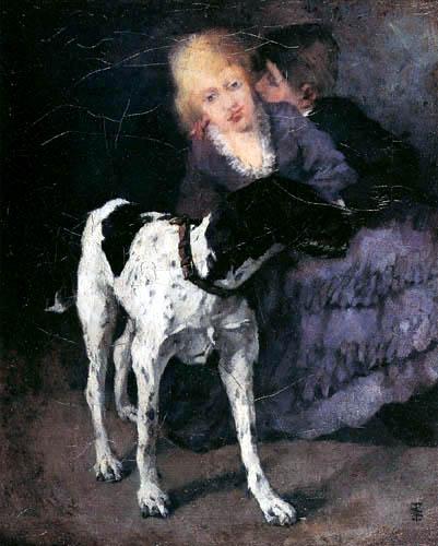 Wilhelm Trübner - Lovers with dog
