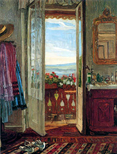 Wilhelm Trübner - Room with a balcony at the Starnberger lake