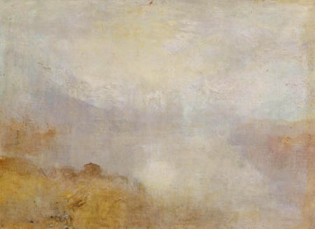 Joseph Mallord William Turner - Mountain landscape with a lake and a hut