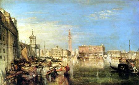 Joseph Mallord William Turner - Puente de los suspiros, el palacio del dux y aduana, Venecia