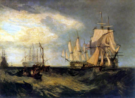 Joseph Mallord William Turner - Spithead: Two Captured Danish ships entering Portsmouth Harbour