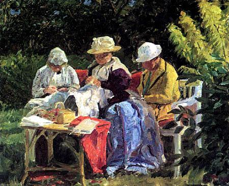 Laurits Tuxen - Nähstunde im Garten