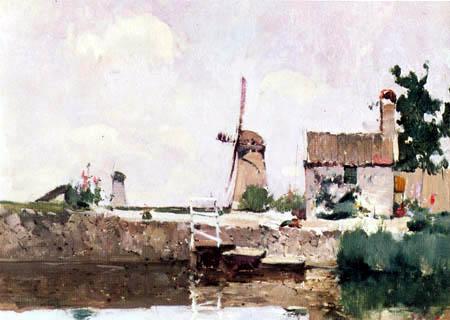 John Henry Twachtman - Windmills, Dordrecht
