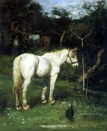 Fritz von Uhde - A white horse
