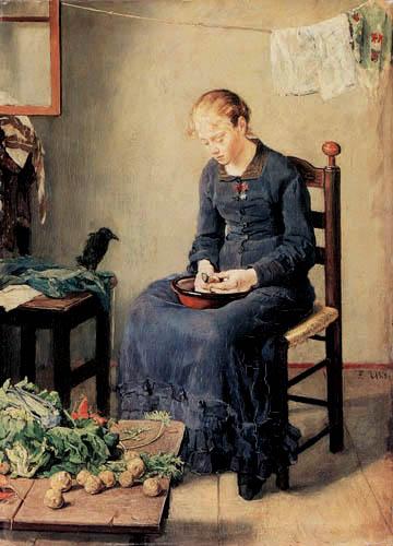 Fritz von Uhde - Woman Peeling Potatos