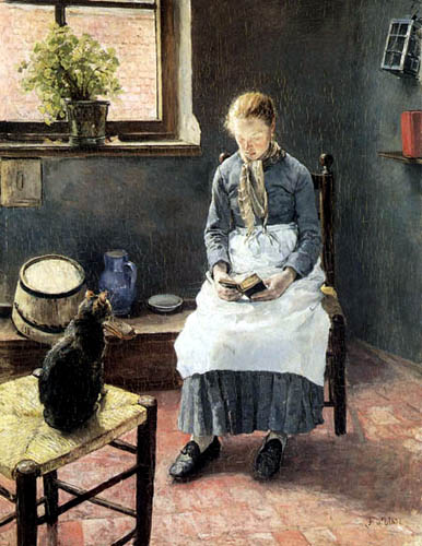 Fritz von Uhde - A reading Girl with a cat