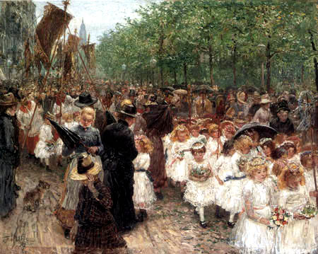Fritz von Uhde - A children's procession in the rain