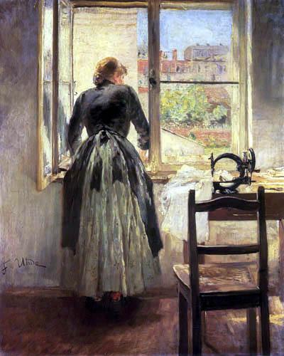 Fritz von Uhde - Dress maker in the window