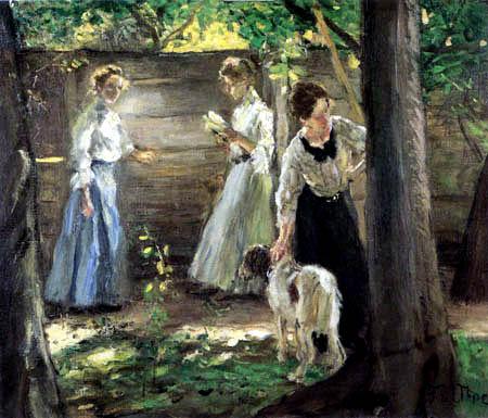 Fritz von Uhde - Drei Mädchen im Garten
