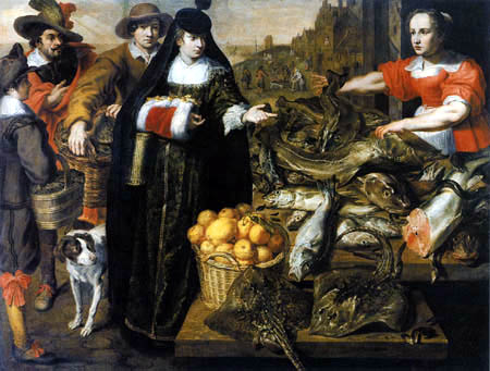 Adriaen van Utrecht - On the fish market, Antwerp