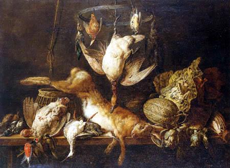 Adriaen van Utrecht - Still life with a hare and birds