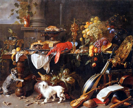 Adriaen van Utrecht - Still life with dog and cat