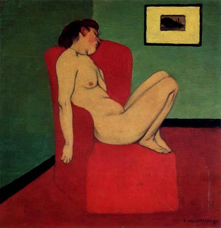 Félix Edouard Vallotton - Nude on a red armchair