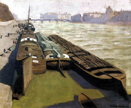 Félix Edouard Vallotton - Lastkähne am Seine-ufer