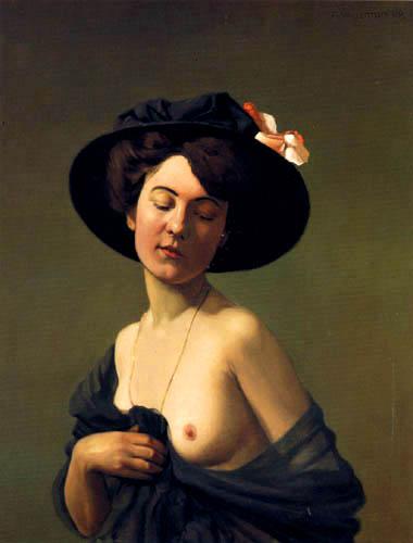 Félix Edouard Vallotton - Woman with black hat