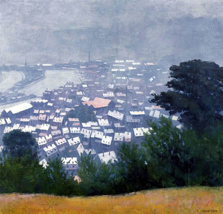 Félix Edouard Vallotton - The roofs and the port of Honfleur