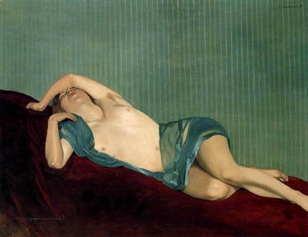 Félix Edouard Vallotton - A Reclining Nude with a Green Sash