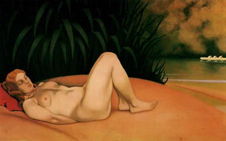 Félix Edouard Vallotton - Sleeping nude ashore