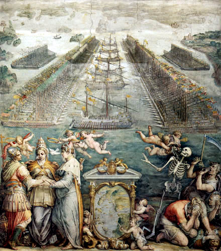 Giorgio Vasari - The opposing fleets near Lepanto