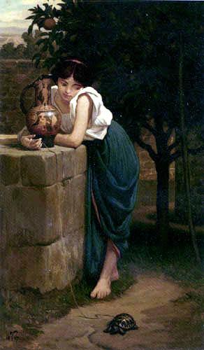 Elihu Vedder - Girl with turtle