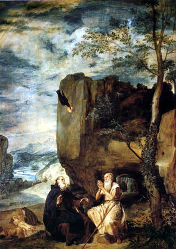 Diego R. de Silva y Velázquez - Saint Anthony the Abbot and Saint Paul the Hermit