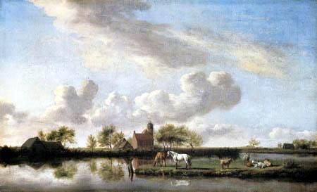 Adriaen van de Velde - River landscape