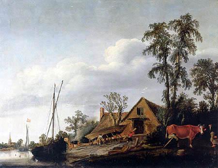Esaias van de Velde - A View of a Riverbank with a Boatyard