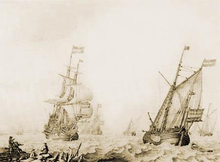 Willem van de Velde the Elder - Kriegsschiffe im Haringvliet