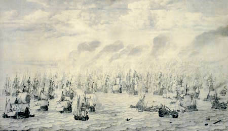 Willem van de Velde the Elder - Naval battle near Ter Heide