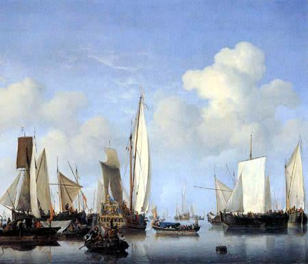 Willem van de Velde der Jüngere - Eine Staatenjacht