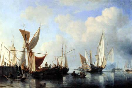 Willem van de Velde der Jüngere - Hafenmole mit ablegender Jacht